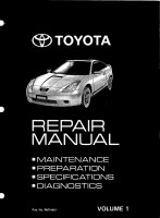 Celica Repair Manual Volume 1